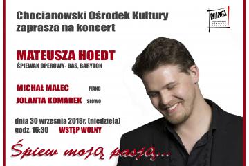Plakat na koncert Mateusza do CHOK3-1